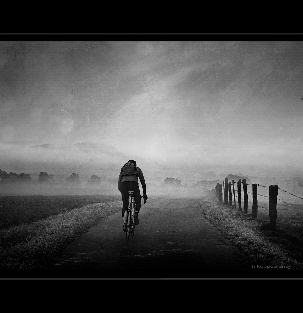 Cyclist in Morning Mist